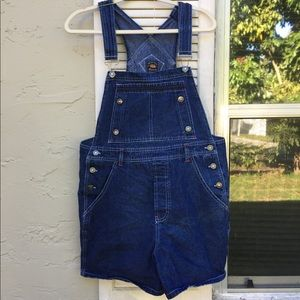 Route 66 Vintage Denim Overall Shorts Size Large